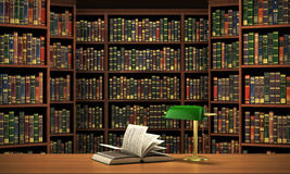 Books on the table in the focus. On the blurred background bookshelf full of books. Concept of library Royalty Free Stock Photos