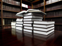 Books on Table in Library Stock Photography
