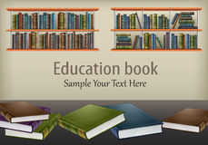 Books on table and shelves & text Stock Images