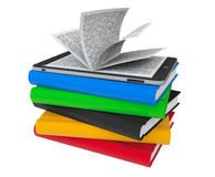 Books with Tablet PC Stock Images