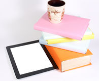 Books tablet PC glass. Tablet pc or ipad glass and books on a white background Stock Photo