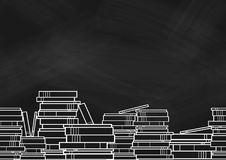 Books and textbooks stack at the bottom on blackborad. Books and textbooks stack at the bottom of frame on blackborad. Background design for school and Royalty Free Stock Photo