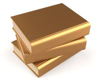 Books three blank golden textbook stack yellow gold icon. Books three blank golden textbook stack yellow gold manual faq. School studying information content Royalty Free Stock Photos