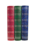 Books. Three old style red, green blue isolated Royalty Free Stock Image