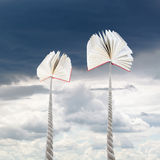 Books tied on ropes soars into rainy sky Royalty Free Stock Images