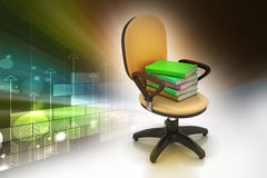 Books on the top of chair Royalty Free Stock Photography
