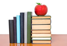 Books tower with apple Royalty Free Stock Photos