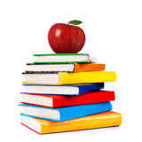 Books tower with apple isolated on white Stock Photography