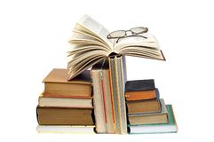 Books tower and glasses Royalty Free Stock Photography