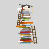 Books tower and ladders stock illustration