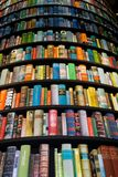 Tower with books. Books in a tower-shaped bookcase stock image