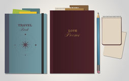 Books travel and poems. Books, travel and poetry. Notebook and pencil Royalty Free Stock Images
