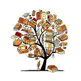 Books Tree, Sketch For Your Design Stock Image