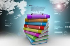 Books and trolley in colour background Royalty Free Stock Photography
