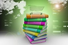 Books and trolley in colour background Royalty Free Stock Images