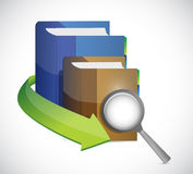 Books under a magnify illustration design. Over a white background Royalty Free Stock Photography