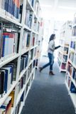 Books at a university library stock photo