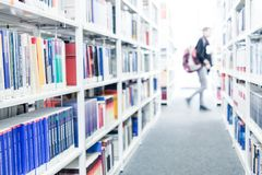 Books at a university library royalty free stock image