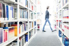 Books at a university library royalty free stock photo