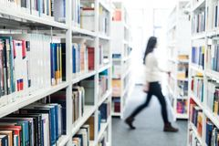 Books at a university library. Science books at a university library stock photos
