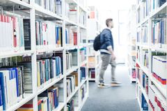 Books at a university library. Science books at a university library stock images