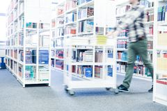 Books at a university library. Science books at a university library stock image