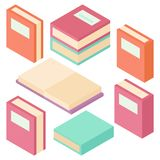 Books various views isometric 3D vector illustration stock illustration
