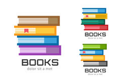 Books vector logo icons set. Sale background Royalty Free Stock Images