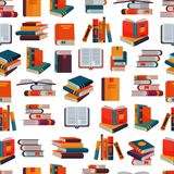 Books vector stack of textbooks and notebooks on bookshelves reading literature in library or bookstore bookish cover. Illustration set isolated seamless Stock Photo