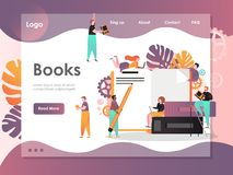 Books vector website landing page design template royalty free illustration