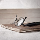 Books and volumes on the table. Close up of books and volumes on the table stock photography