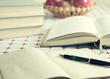 Books and volumes on the table. Close up of books and volumes on the table royalty free stock photography
