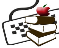 Books vs Computers. Includes a computer, books and an apple stock illustration