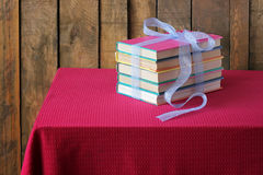The books which are tied up by a blue tape Stock Photo