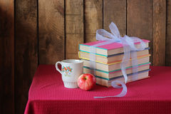 The books which are tied up by a blue tape Royalty Free Stock Photography
