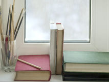 Books On Window Sill Royalty Free Stock Photography