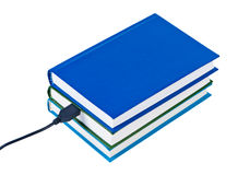 Books wire connected USB isolated. Royalty Free Stock Images