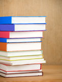 Books on wood background Stock Photography