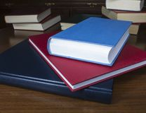Books on wood table Royalty Free Stock Image