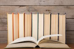 books on the wooden background stock photography