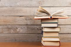 books on the wooden background stock photo