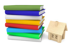 Books with wooden house Royalty Free Stock Image