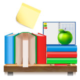 Books on a wooden shelf. Stock Image