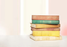 Books on a wooden table. Stock Images