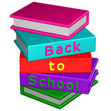 Books with word: Back to School. 3D rendering. stock illustration