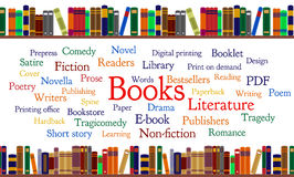 Books word cloud and books on shelf Stock Images