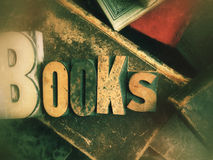 Books word on vintage book grouping Stock Photography