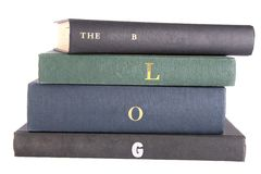 "Books with the words ""The Blog"" spelt on the spine. Books with the words ""The Blog"" on the spine isolated against a white background Stock Image"