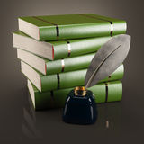 Books and writing feather with inkwell Royalty Free Stock Photo