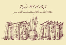 Books and writing tools in vintage style Royalty Free Stock Photography